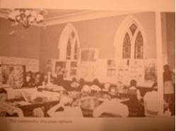 Old Stone Church: circa 1975 photograph of Methodist-Episcopal Church main hall interior (from Roger Trancik, et al., Essex: A Land Use Planning Process., September 1975, courtesy Todd Goff)