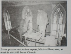 Old Stone Church, Michael Kempster 1980s plaster restoration (Courtesy Todd Goff)
