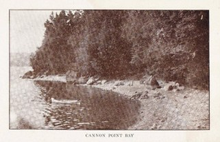 """Cannon Point Bay (Credit: W.H. Cruikshank; Appeared in """"Essex Souvenir Letter"""" sent March 18, 1908)"""