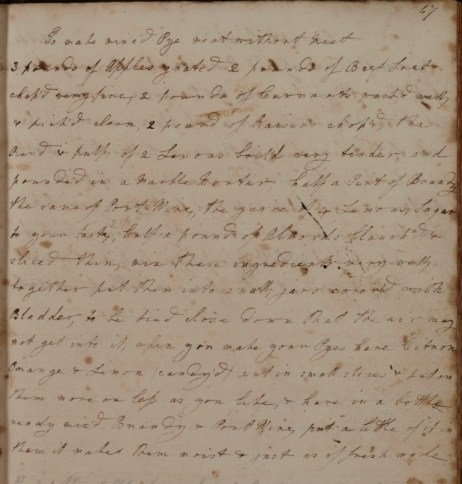 Mary Rooke's recipe for minced meat (D/DU 818/1 image 25)