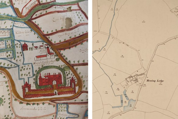 Portion of the 1650 map showing Messing Hall compared with 1897 map showing Messing Lodge