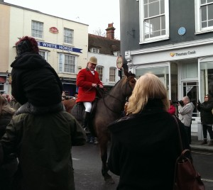 Horse riding through busy Maldon street, 1 Jan 2016