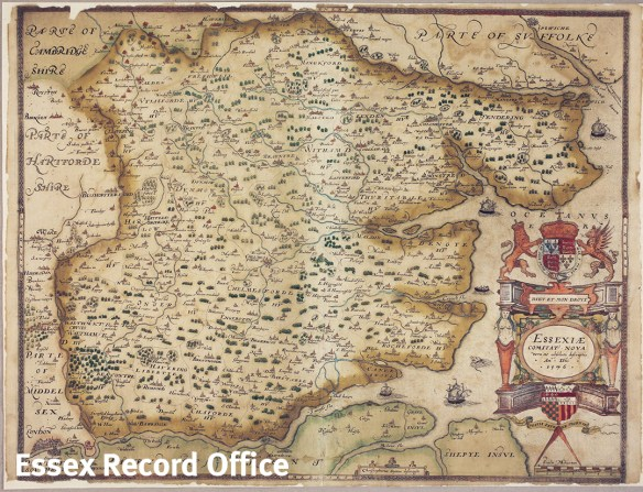 Saxton map Essex 1576