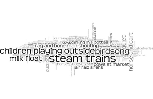Wordcloud of suggestions of lost sounds