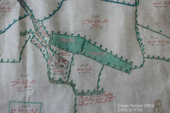 Part of 1609 map of White Roding showing meadowland