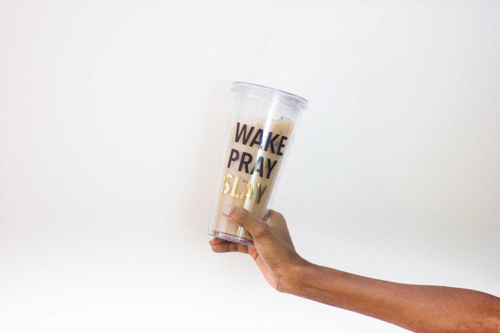Free gold 'Wake, Pray, Slay' phone wallpaper || Essie Does Summer