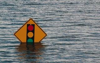 Zone urbaine inondée