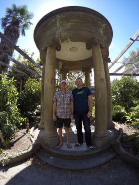 This is a great demonstration of the GoPro's wide angle lens. I don't remember what this monument was, but it is at the convent as well.