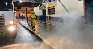 PG realiza a limpeza e desinfecção de unidades de saúde, centros comerciais e vias públicas