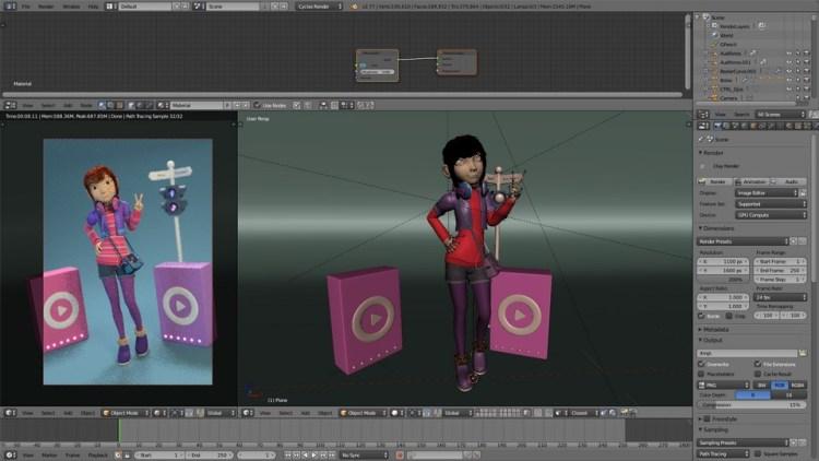 Escena 3D final videotutorial de Blender