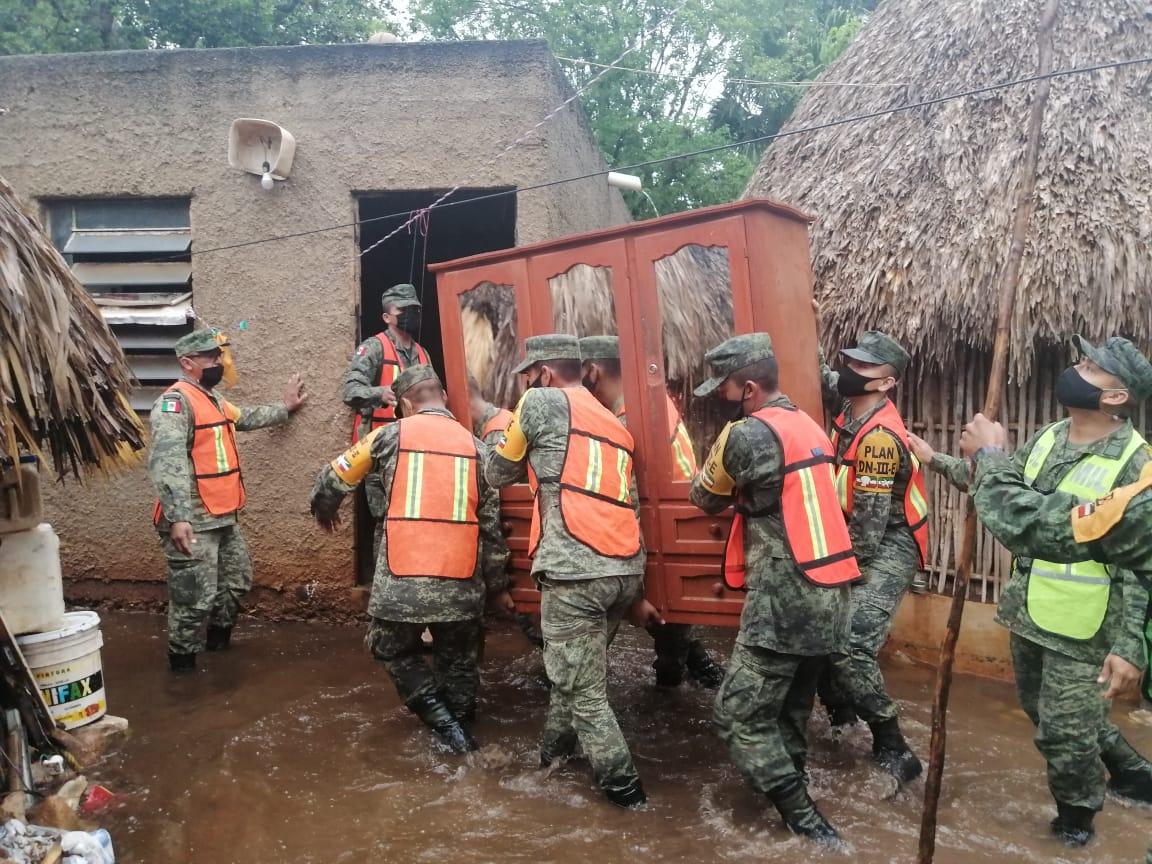 Ejército Mexicano continúa aplicando el Plan DN-III-E por lluvias