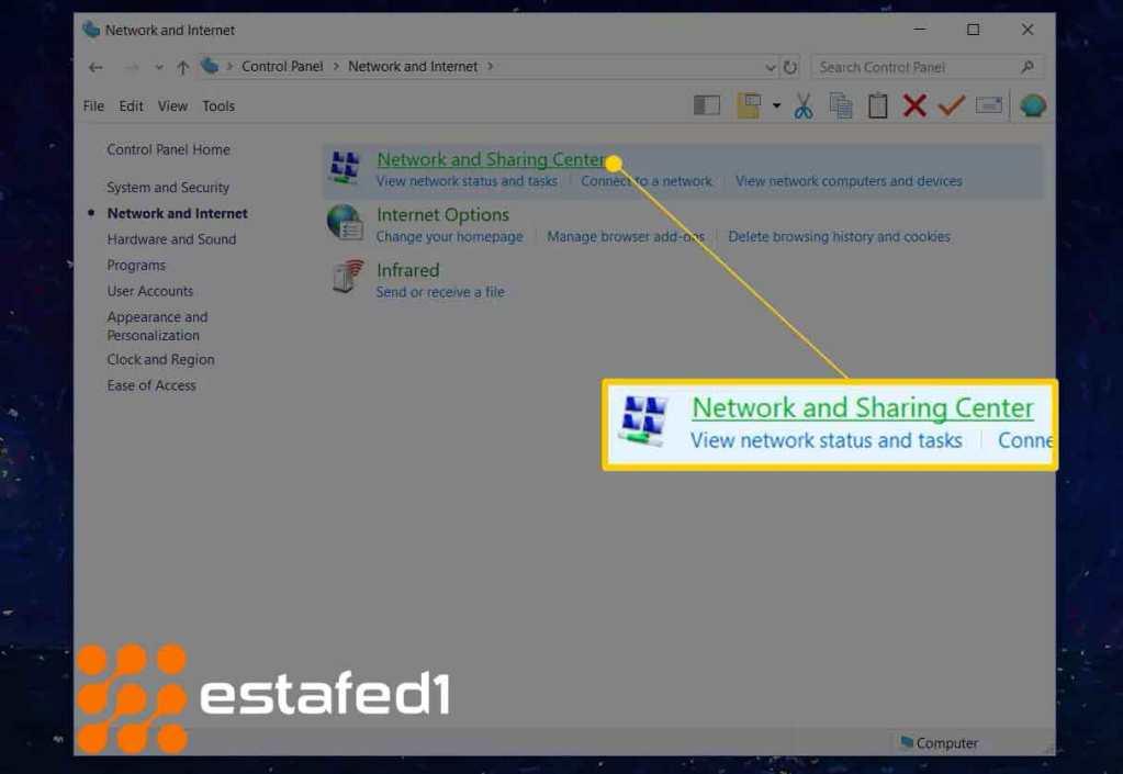 خيارNetwork and Sharing Center