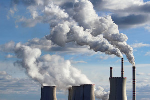 smoking cooling towers of coal power plant
