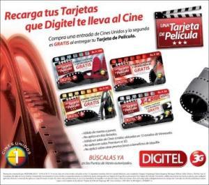 Aviso Tarjetas Digitel te lleva al Cine