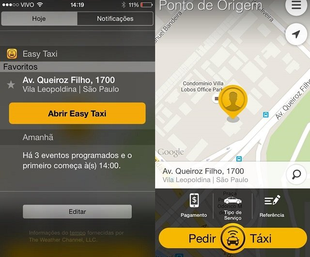 easy taxi ios widget