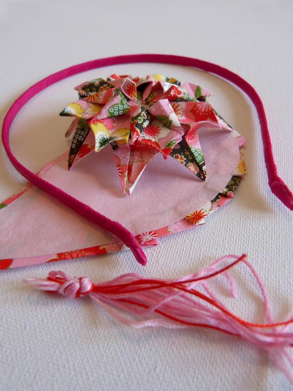 Serre-tête fleur origami rose