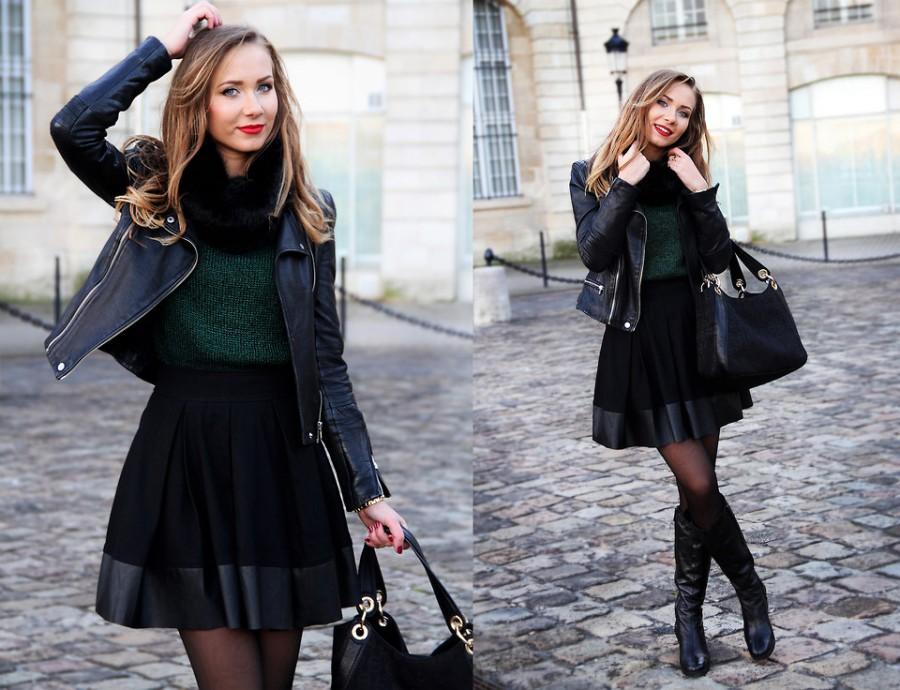 Sonbahar-kış-deri-ceket-kısa-elbise-kombinleri
