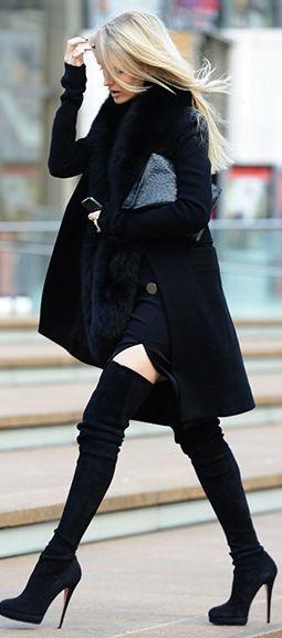 Sonbahar-kış-uzun-siyah-çizme-siyah-kaban-kombini