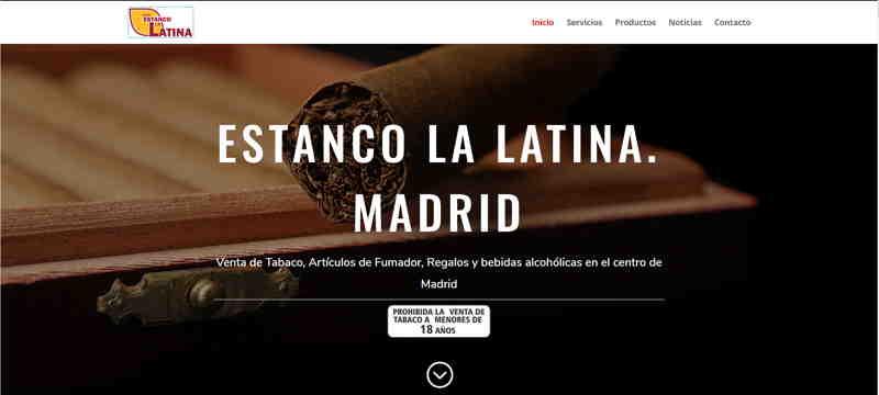 Portada de la web del Estanco La Latina