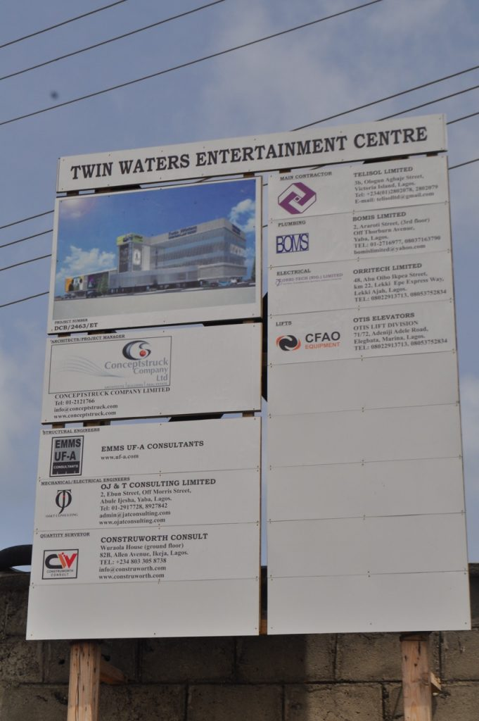 Twin Waters Entertainment Centre, Lagos. Okunde Bluewater Zone, off Remi Olowude Street. June 2015. Image source: Omololu Ibhaulu.