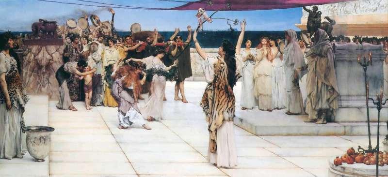 Baccanali dedicati a Bacco - origine dell'Ottobrata Romana - dipinto di Lawrence Alma-Tadema