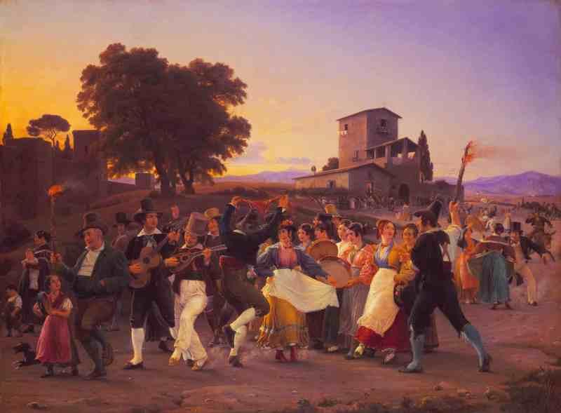 Wilhelm Marstrand - Festa fuori le mura di Roma una sera d'Ottobre (1839) - Ottobrata Romana