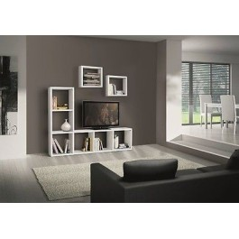 mur moderne bibliotheque tv modulaire blanc stand ash bois