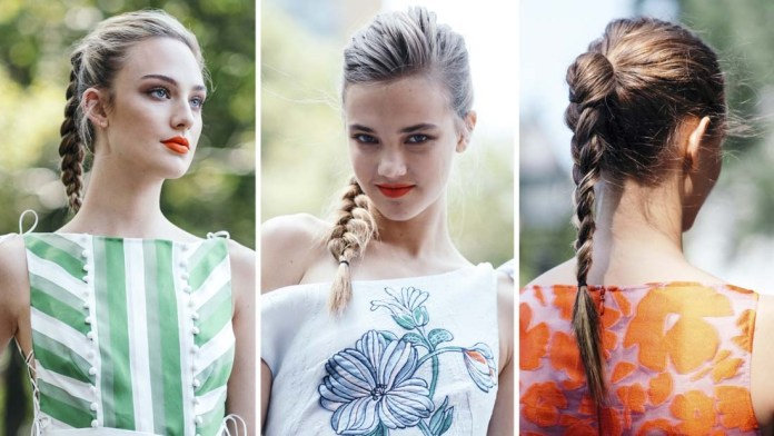 Get the Look! Lela Rose SS2018 High, Braided Ponytails by Lori Panarello for KMS