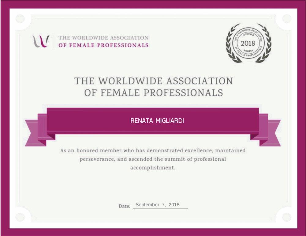 Worldwide Association of Female Professionals Award