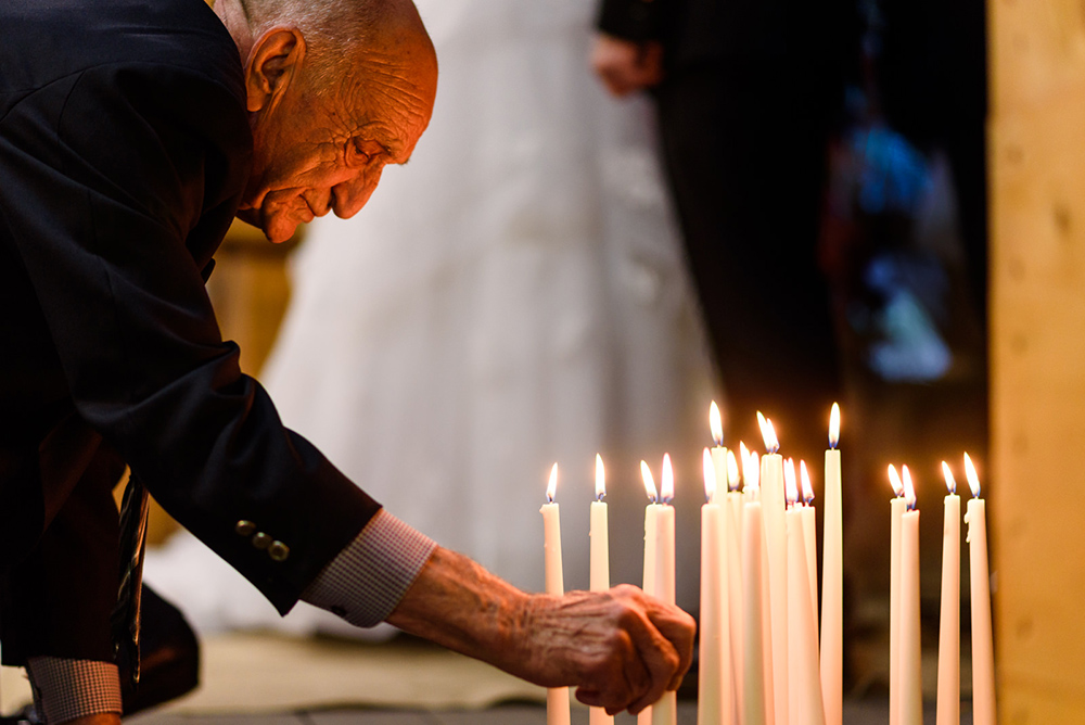 Grandfather with wedding candle