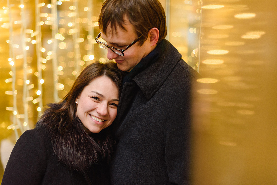 Engagement photo session with Christmas lights
