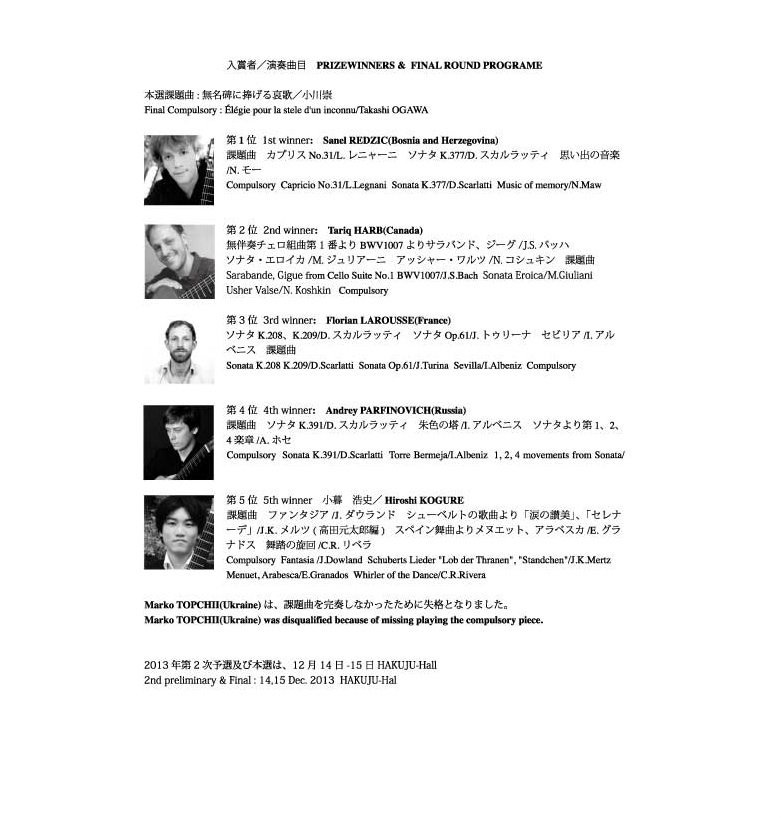 results of the Tokyo International Guitar Competition 2012