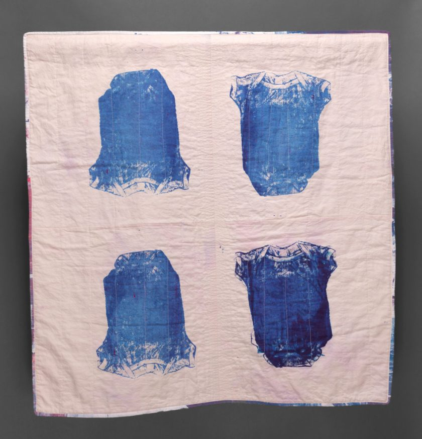 "Esther S White, New Rhythm, 2016, 39""x39""; cotton, fiber-reactive dye; screen-printed, machine stitched and quilted"