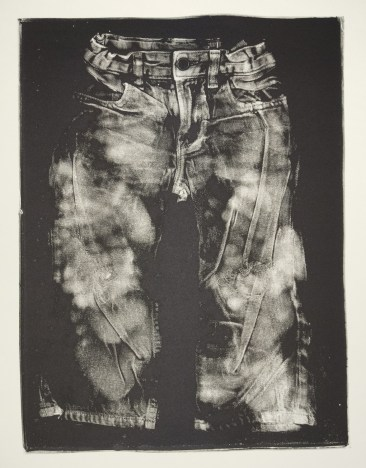 Esther S White, Untitled (toddler jeans), 2017, gelatin plate monotype