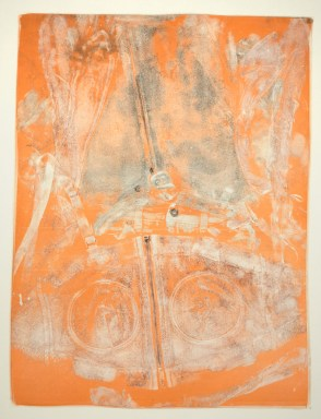 Esther S White, Untitled (pajamas with feet and pumping bra), 2017, gelatin plate monotype