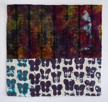 """ESW, Learning to Walk #3, 2016, 42""""x40""""; quilt: cotton, ber-reactive dye; relief printed, hand-dyed, machine stitched and quilted"""