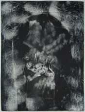 "Esther S White, Clothes that are too small or no longer needed (lacey bra and socks), 2017, gelatin plate monotype, 16""x21"""