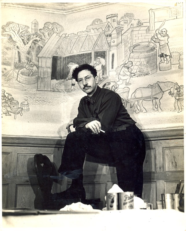 Edgar_posing_before_Pabst_Blue_Ribbon_Hall_mural_(1942)