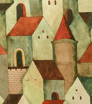 "Cropped section of watercolor painting ""Passages to Ponder"""