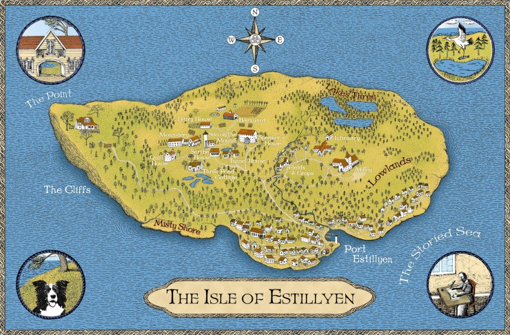 Color map showing the postion of all the main features and buildings on the Isle of Estillyen
