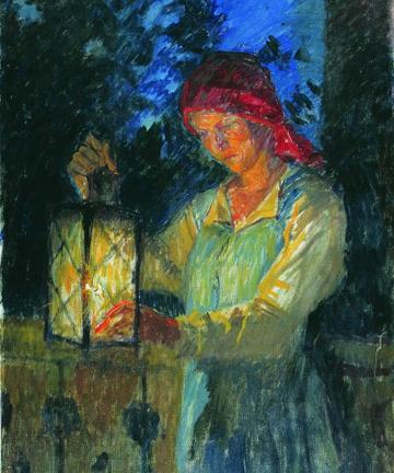 'Girl with Lantern', 1908, Nikolay Bogdanov-Belsky