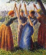 'Peasant Women Planting Stakes', c. 1891, Camille Pissarro