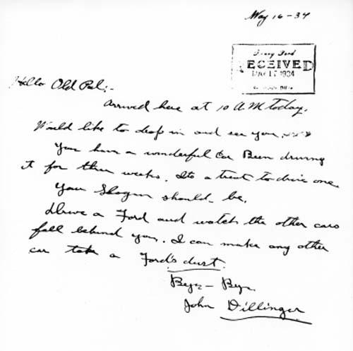 carta john dilliger e hanry ford