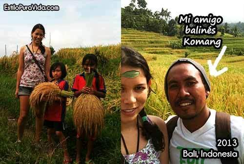 Visitando los campos de arroz en Bali, Indonesia