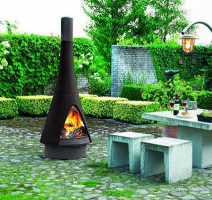 chimeneas en el jardin decoracion de