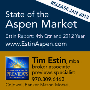 The Estin Report Aspen Snowmass Weekly Real Estate Sales and Statistics: Closed (15) and Under Contract / Pending (2): Dec 23 – 30, 2012 Image