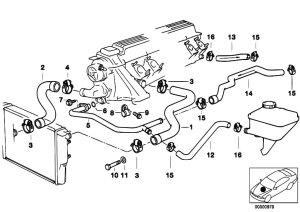 Original Parts for E39 525tds M51 Touring  Engine Cooling System Water Hoses  eStoreCentral