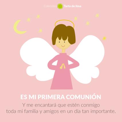Invitacion comunión Ángel rosa