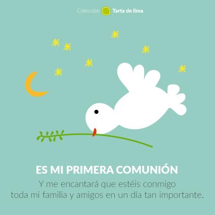 Invitacion comunión paloma azul