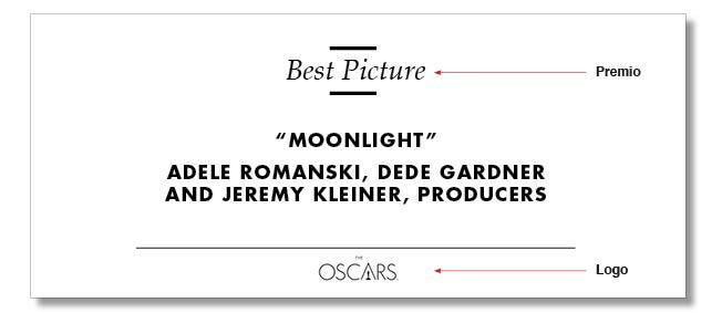 Tarjeta Moonlight Oscars 2017